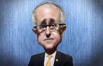 Caricature of Malcolm Turnbull by DonkeyHotey – flickr.com/photos/donkeyhotey – adapted from a Creative Commons licensed photo by Veni Markovski available via Wikimedia. The body was adapted from a Creative Commons licensed photo from ITU Pictures's Flickr photostream.
