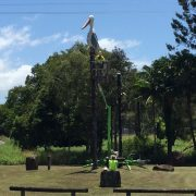 Pelican wings being repaired at entrance to Mullumbimby. Photo Hans Lovejoy.