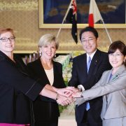 (L to R) Australian defence minister Hon Marise Payne, foreign affairs minister Julie Bishop, Japanese foreign minister Fumio Kishida, and defence minister Tomomi Inada shake hands prior a meeting in Tokyo on April 20. Photo The Yomiuri Shimbun via AP Images