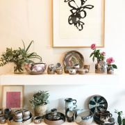 Lauren Campbell's ceramics on display at Nikau Store for Sit Still Lauren Ceramics fundraiser. Photo supplied.