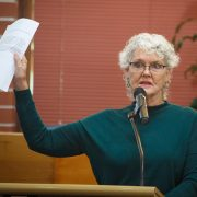 BHPA secretary Leigh Rees addresses Council last Thursday. Photo Eve Jeffery