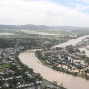 An aerial view of some of the flooding in Murwillumbah.  Photo supplied