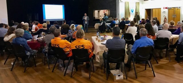 Mayor Simon Richardson speaking at the flood resilience meeting held in Mullumbimby last week. Photo supplied.