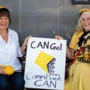 The Knitting Nannas Against Gas (KNAG) held their inaugural knit-in outside the Commonwealth Bank in Byron Bay last Friday. Nanna Jinta and Nanna Rosie say that the financial institution can have a hand in stopping coal mining. Photo Kieren Nugent