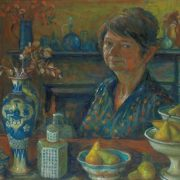 Margaret Olley Self portrait c.1988, oil on board, 59.5 x 75cm, Private collection, courtesy Philip Bacon Galleries, © Margaret Olley Art Trust