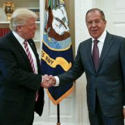 US president Donald Trump shakes hands with Russian foreign minister Sergey Lavrov in the White House in Washington, Wednesday, May 10, 2017, during which meeting pres Trump allegedly passed secret foreign intelligence to Mr Lavrov. (Russian Foreign Ministry Photo via AP)