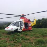 The Westpac Rescue Helicopter at Brooklet after locating the crashed plane.