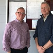 Nationals MLC Ben Franklin and Club President of the Ballina Lighthouse & Lismore SLSC Craig Nowlan viewing plans for the new storage facility. Photo supplied