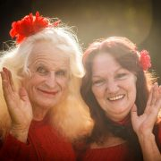 "Cathy aka Gwilym Summers and event organiser ""Cathy"" Linda White, giving their all for Kate. Photo Tree Faerie."
