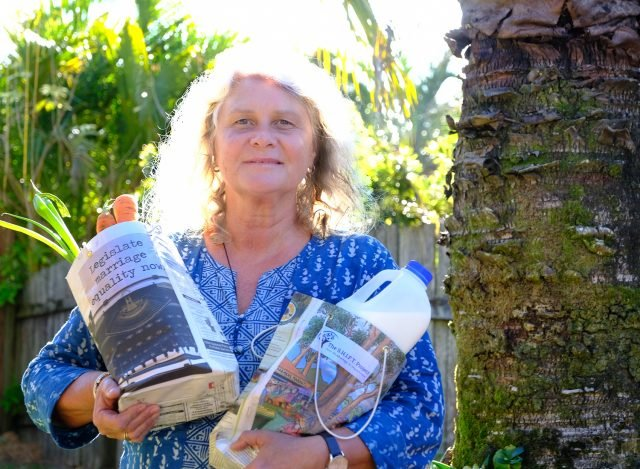 Anne Goslett with the recycled Echo bags. (Photo: Jeff Dawson)