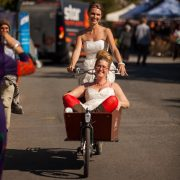 Adrienne Dewdney and Bec Talbot on their way to Mullum market. Photo Diego Chamon.