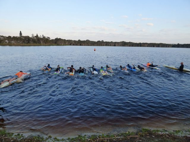 And theyre off. These youngsters are training hard in preparation for the Lennox Head Enduro paddling on cold and dark Lake Ainsworth three mornings a week. Photo supplied.