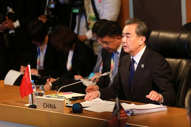 Japan's Kono briefly chats with N. Korea foreign minister Sunday