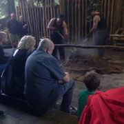 Tending the hangi in New Zealand