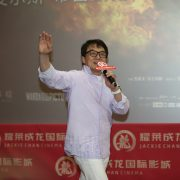 "Jackie Chan attends a press conference to promote his new movie ""The Foreigner"" in Qingdao city, east China's Shandong province, 19 September 2017."
