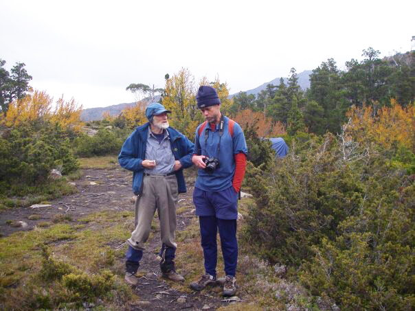 Les Southwell, left, with Dave Noble of Sydney discuss wilderness photography in the Labyrinth near Lake St Clair, Tasmania, 2008. Photo courtesy John Robens.