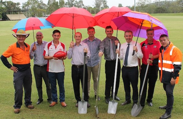 Page MP Kevin Hogan and Lismore mayor Isaac Smith with sports representatives Bleac Ablett, Qld State Auskick Manager, Jared Seiffert (Cricket NSW Development Manager – Far North Coast), Philip Tsourlinis (Swans President – Seniors), Ian Salkeld (Swans President – Juniors). (supplied)