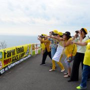 Knitting Nannas on guard at the Byron lighthouse. (Picture Gwilym Summers)