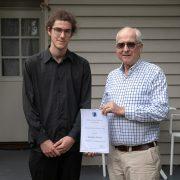 Reuben Flower ADFAS scholar recipient and ADFAS Byron Bay member John Griffiths